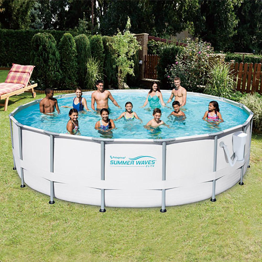 Summer Waves Elite 16\' Ft. Metal Frame Above Ground Pool Set with ...