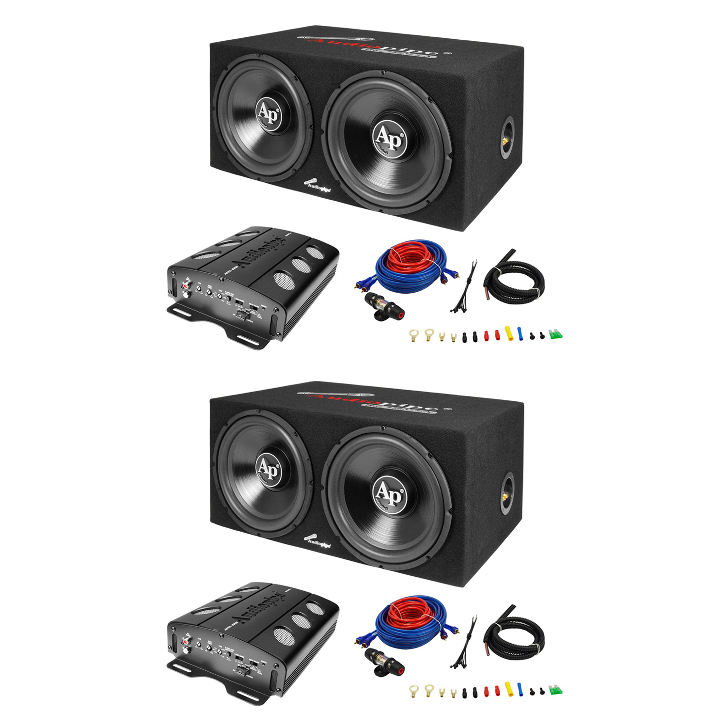 Audiopipe Loaded Dual 12 Subs Amp And Wire Kit Car Audio Package 2 Wiring For Subwoofers An Pack