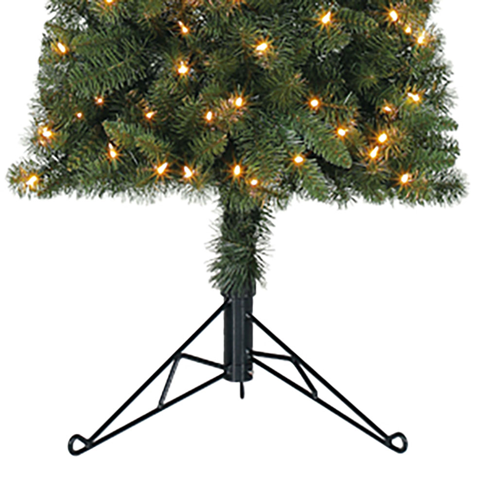 home heritage 7 artificial pvc corner christmas tree led white lights w stand - Christmas Tree Led