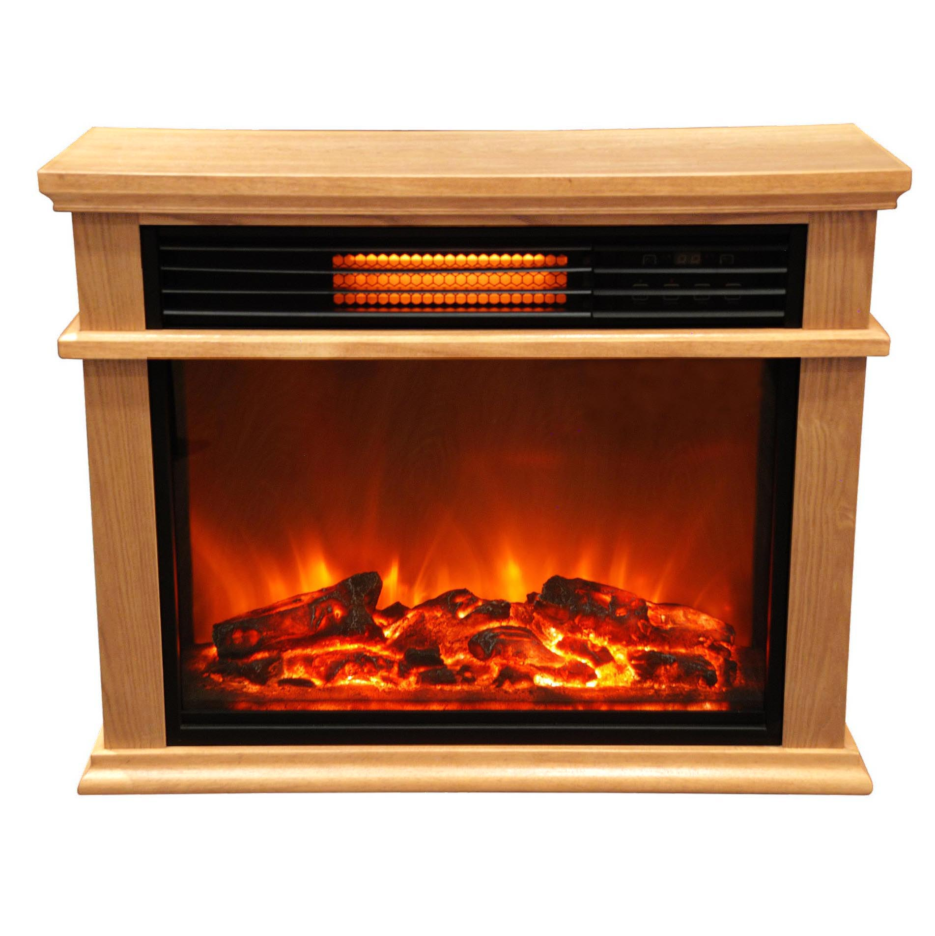 Lifesmart large deluxe mantle portable electric infrared for Electric fireplace motor noise