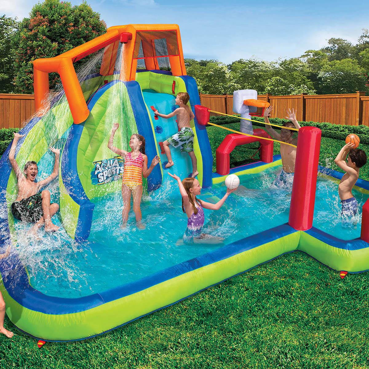 Banzai Inflatable Aqua Sports Splash Kiddie Pool And Slide