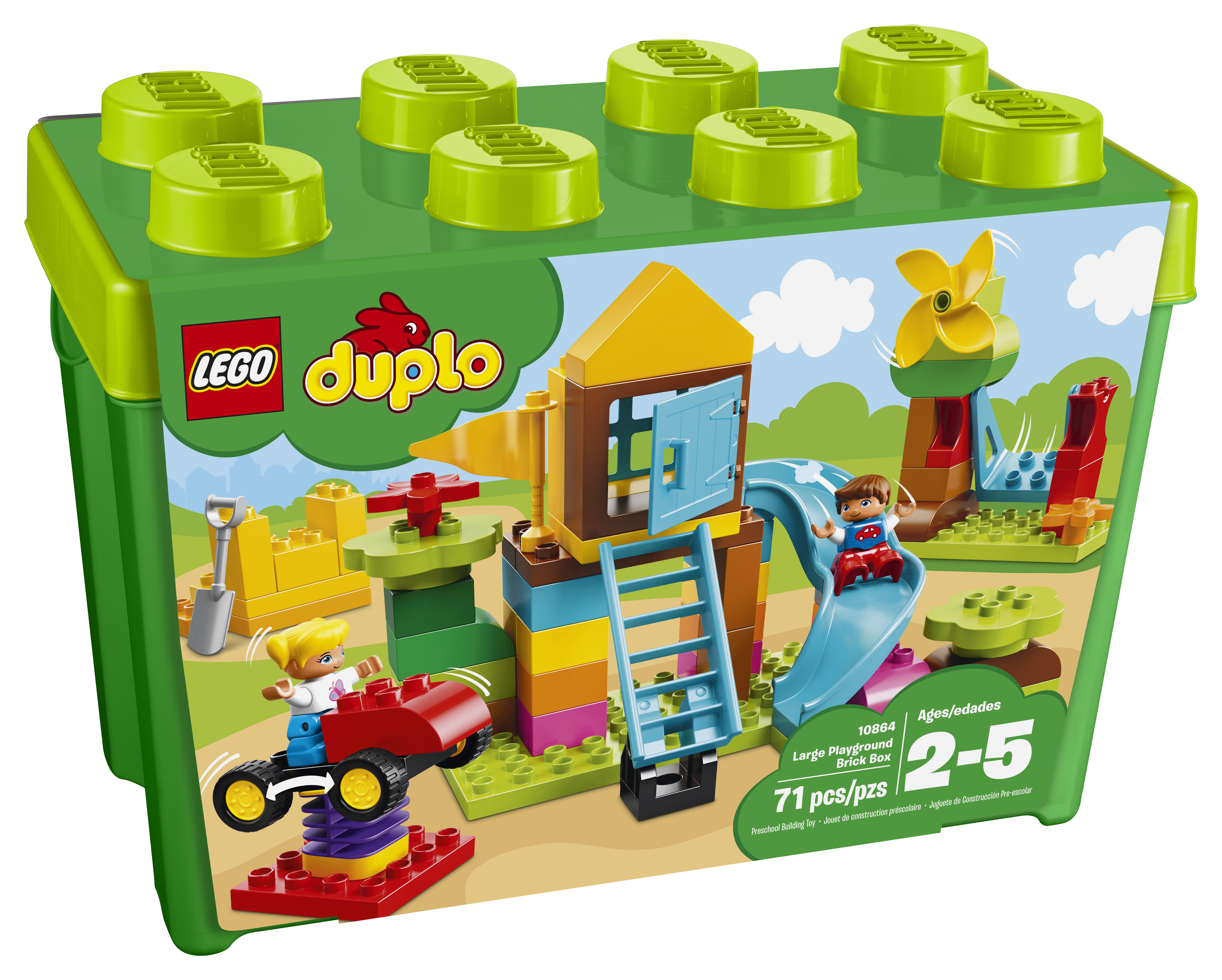 LEGO DUPLO Large Playground 71 Piece Building Block Set with 2 Toy Figurines
