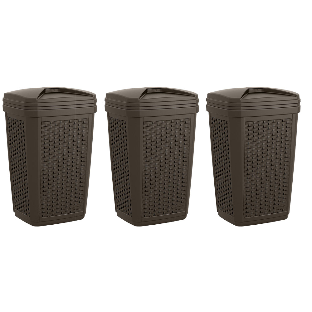 Details About Suncast 30 Gallon Resin Wicker Outdoor Patio Trash Hideaway Java 3 Pack