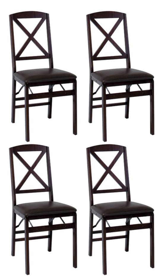 Cosco Wood Folding Chair w Vinyl Seat 4 pack Espresso ESP2E VMI