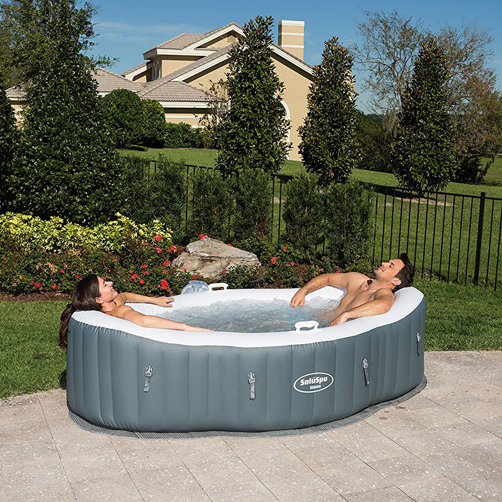 Bestway 2 Person Inflatable Hot Tub + Music Center + 6 Filters + ...