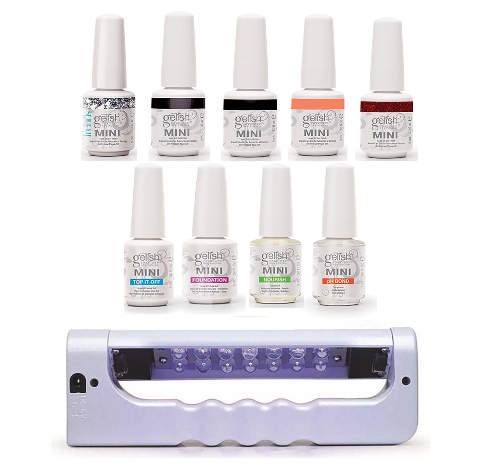 Uv Gel Nail Polish Starter Kit: Gelish Mini Bottles 5 Color UV LED Gel Nail Polish Starter