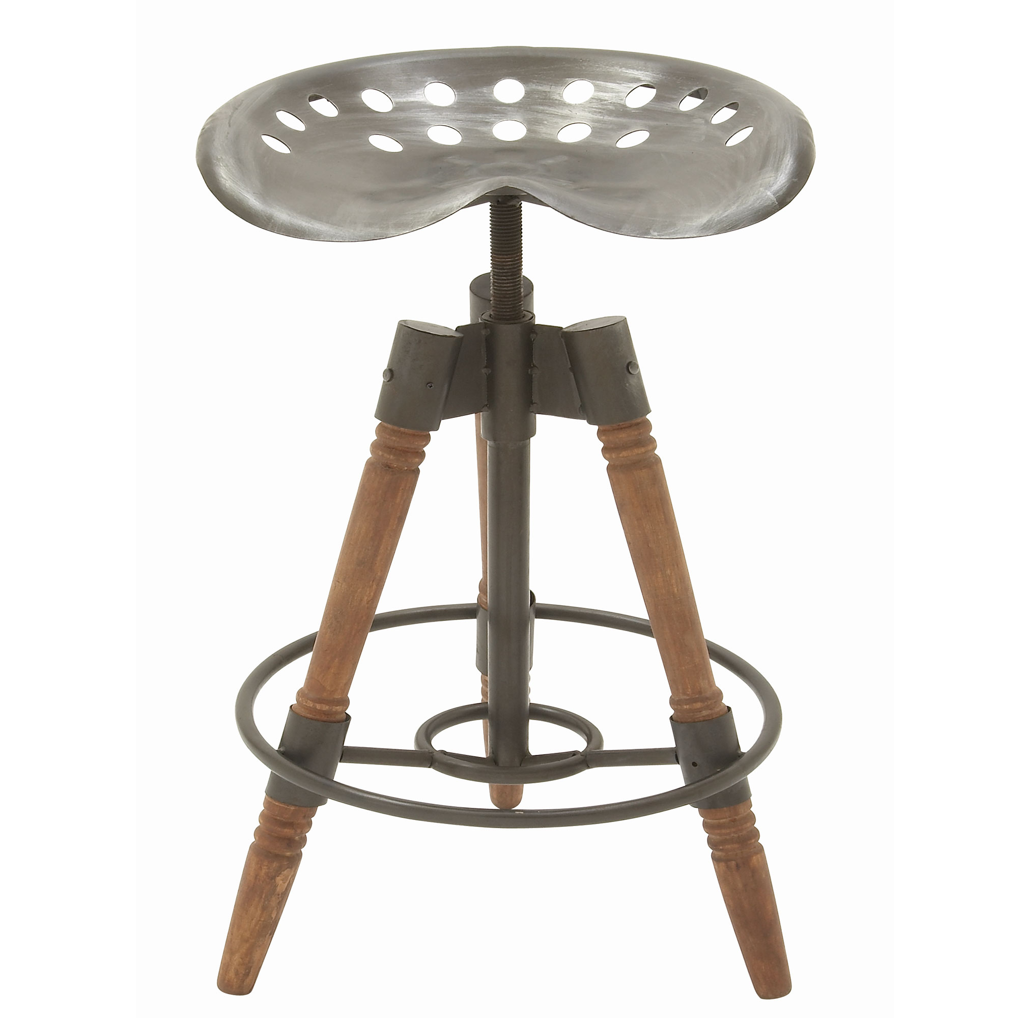 Deco 79 Rustic Farmhouse 3 Leg Tripod Metal Saddle Seat