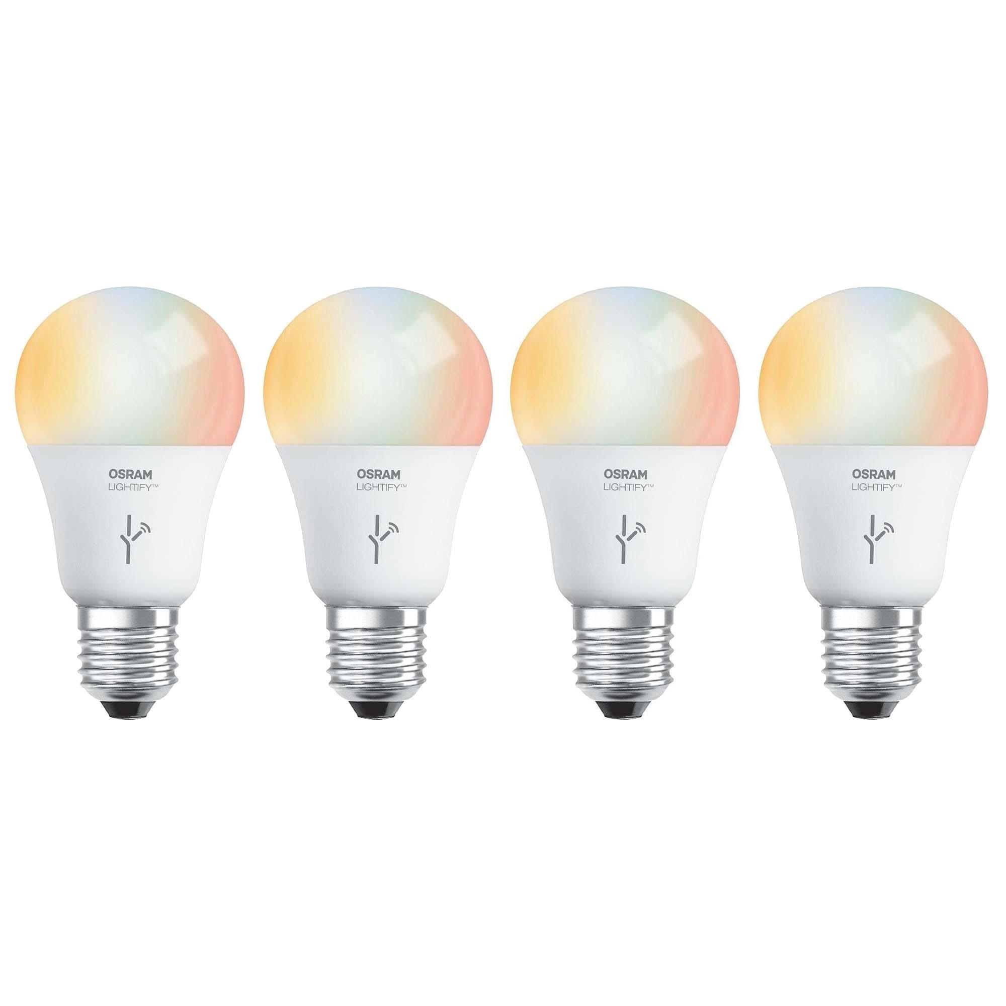 Sylvania Osram Lightify 60w A19 Daylight Rgb Smart Led Light Bulb 4 Pack