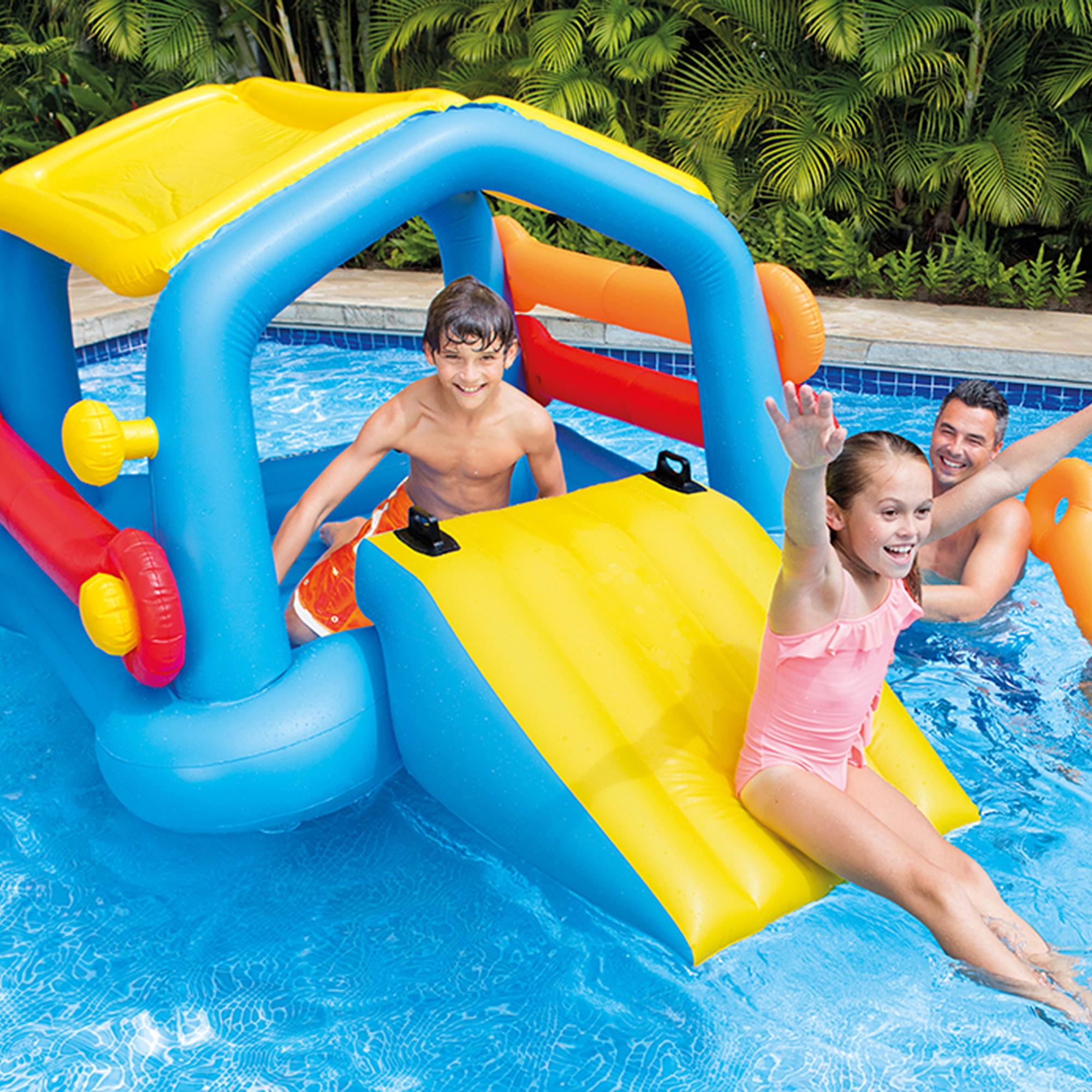 intex inflatable island pool float cabin hut water slide u0026 tube