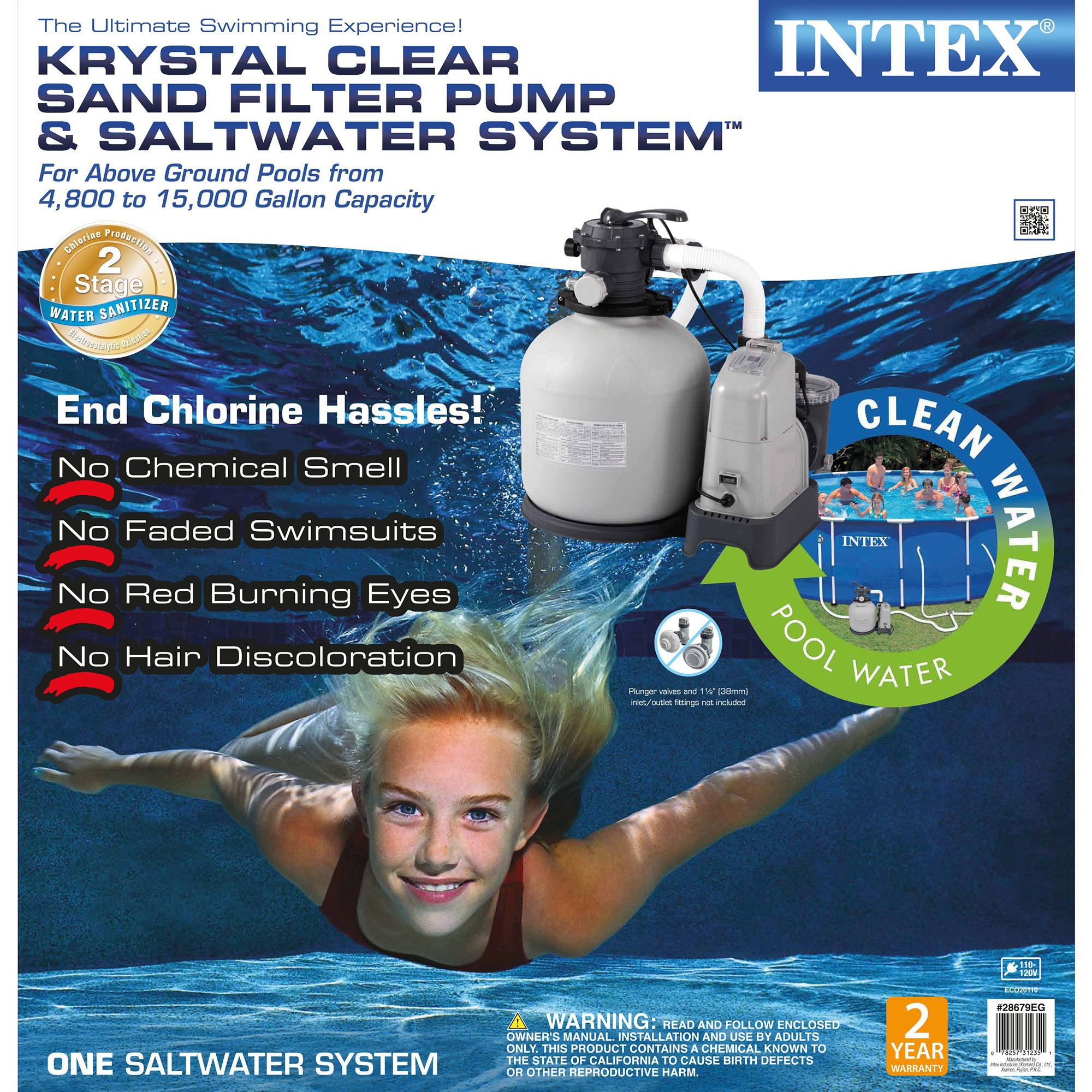 Intex 2650 GPH Saltwater System & Sand Filter Pump Swimming Pool