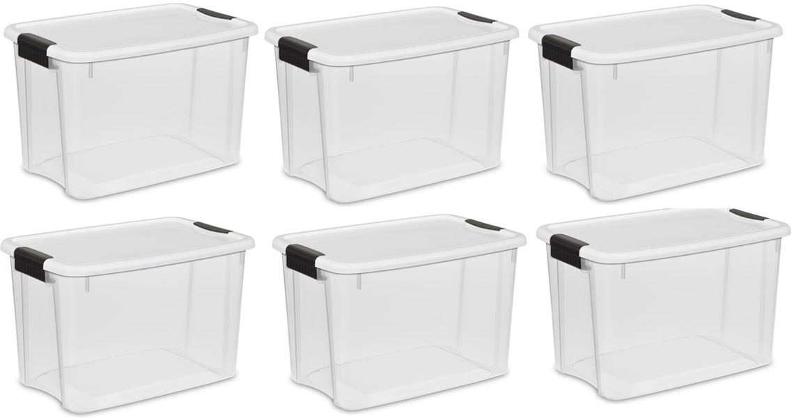 Sterilite 30 Quart Ultra Latch Storage Box W/White Lid And Clear Base (