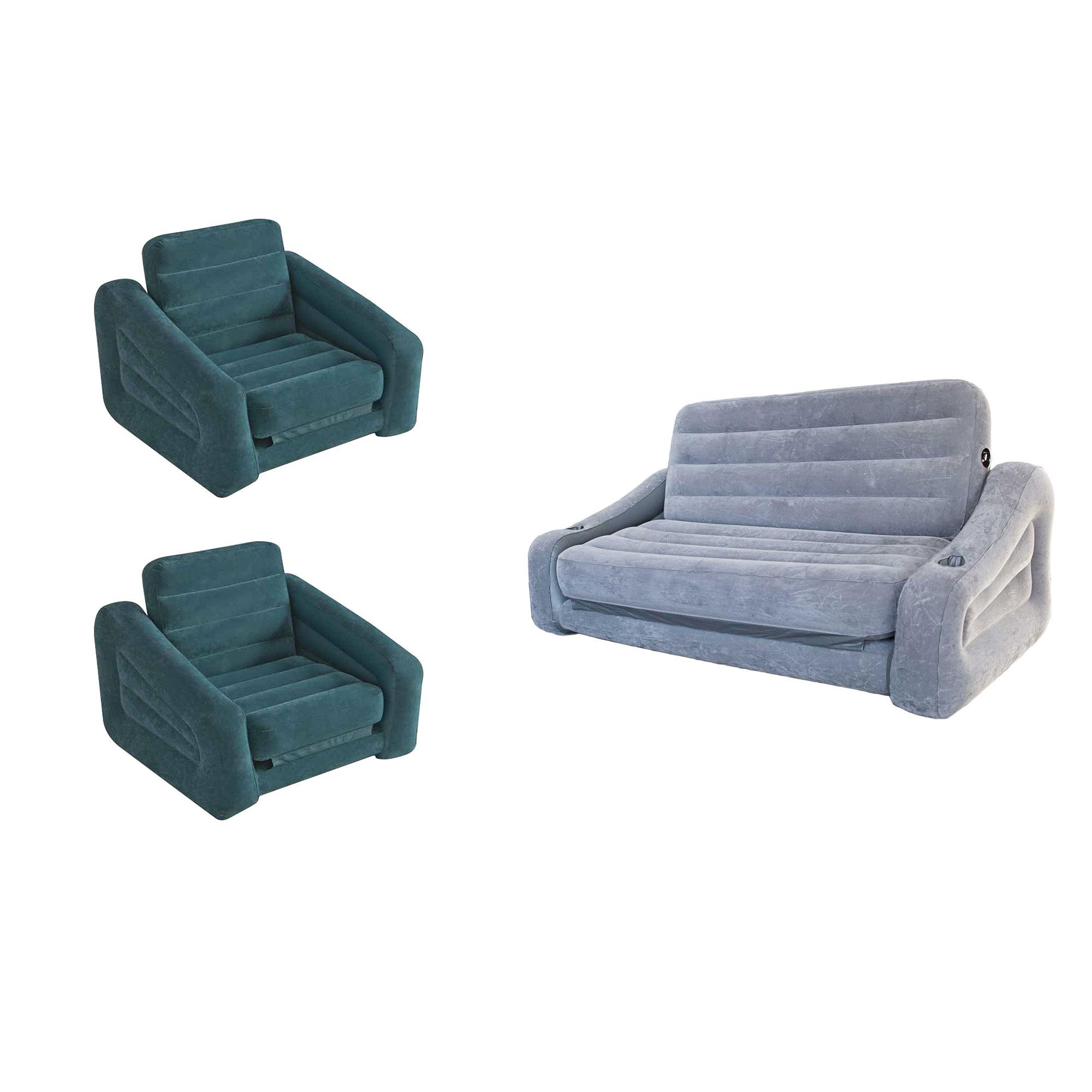 Intex inflatable pull out sofa queen air mattress chair bed sleeper 2 pack