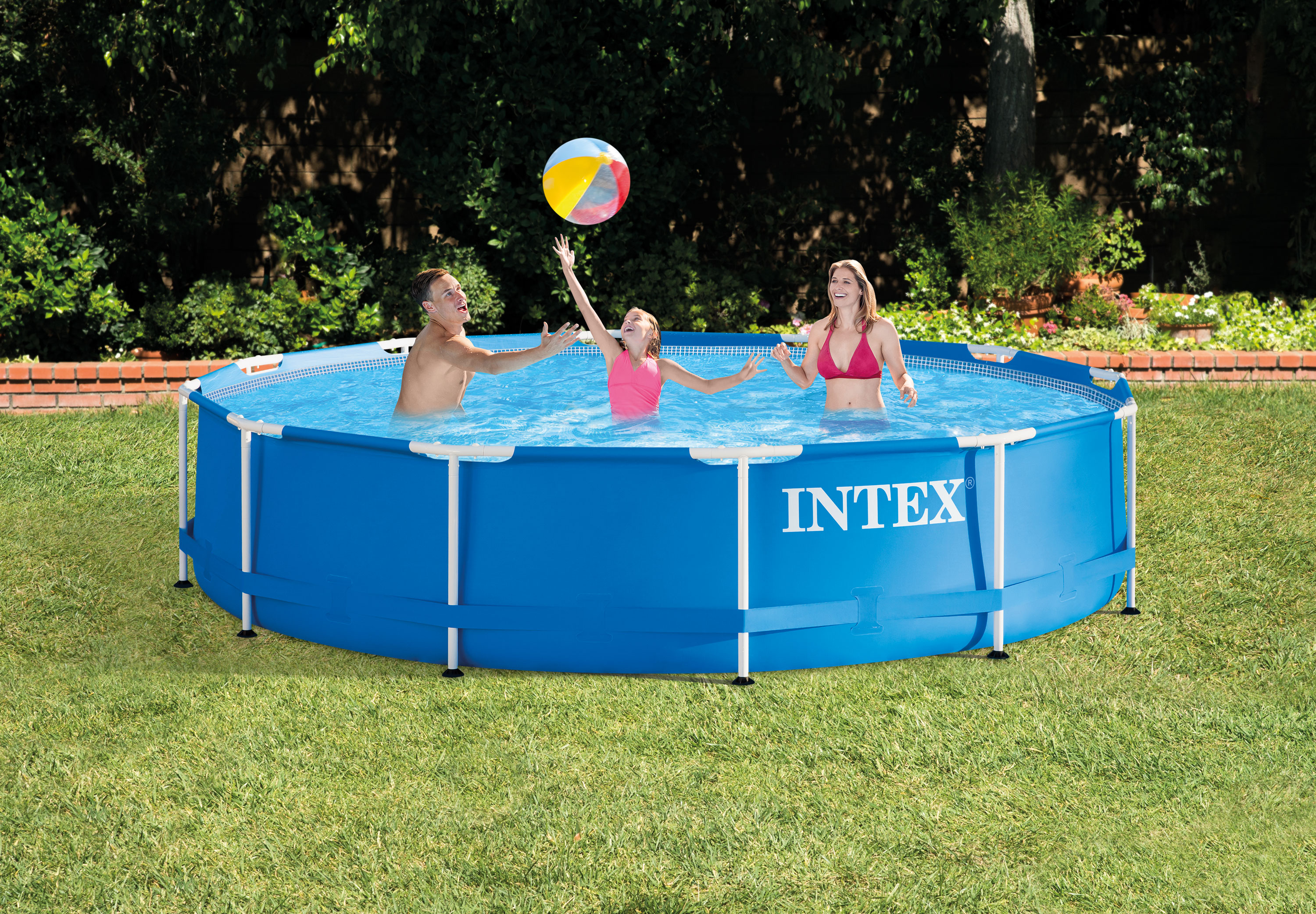 intex 12 39 x 30 metal frame set swimming pool w 530 gph. Black Bedroom Furniture Sets. Home Design Ideas