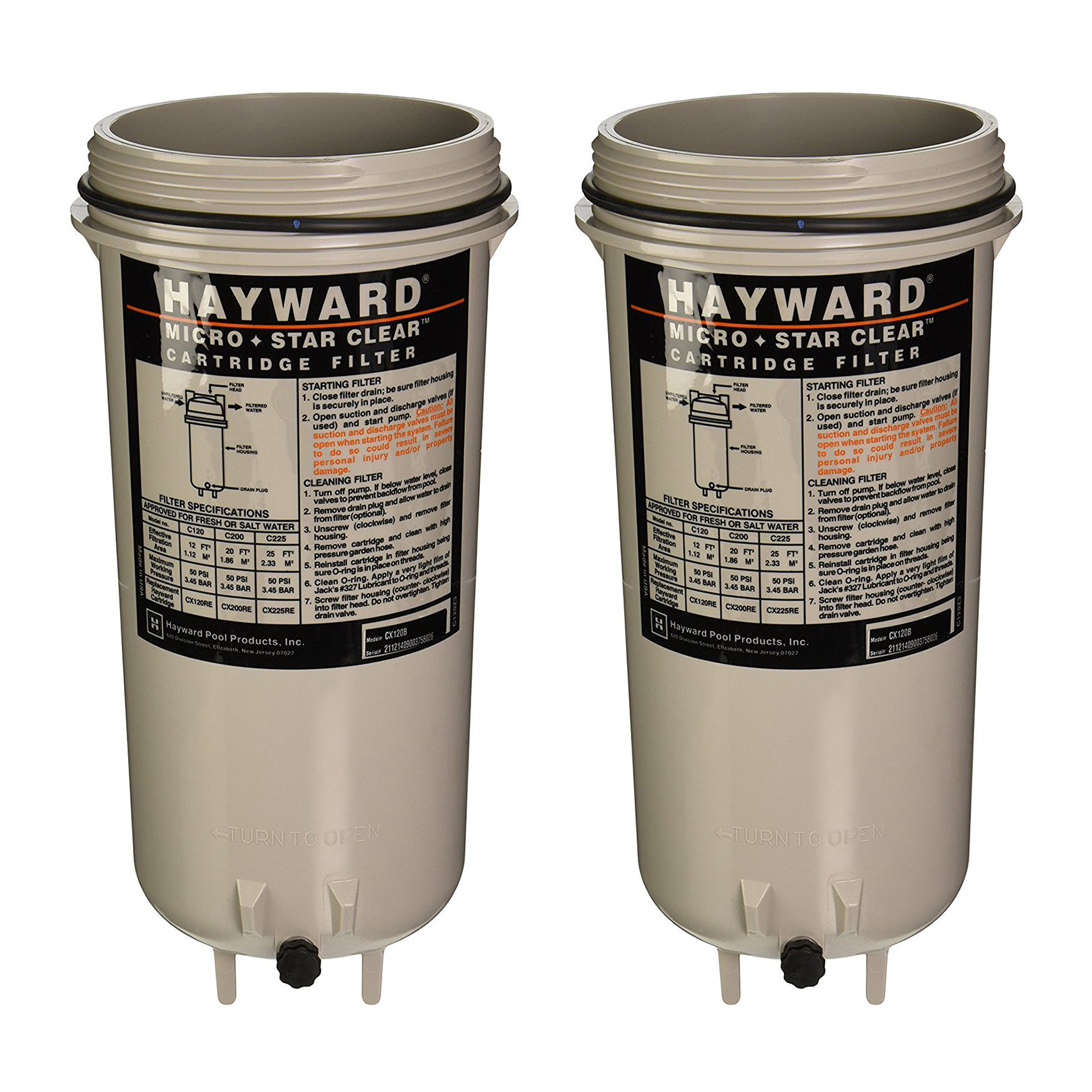 Details about Hayward CX120B Micro Star Clear Cartridge Filter Body for  Pool and Spa (2 Pack)