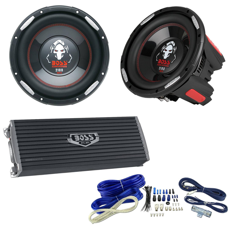 Boss 10 2100w Subwoofer Pair 3000w 2 Channel Amplifier 4 Wiring Kit Gauge