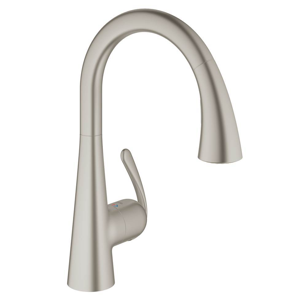 Grohe Ladylux Single Handle Pull Out Swivel Kitchen Faucet W Steel Finish