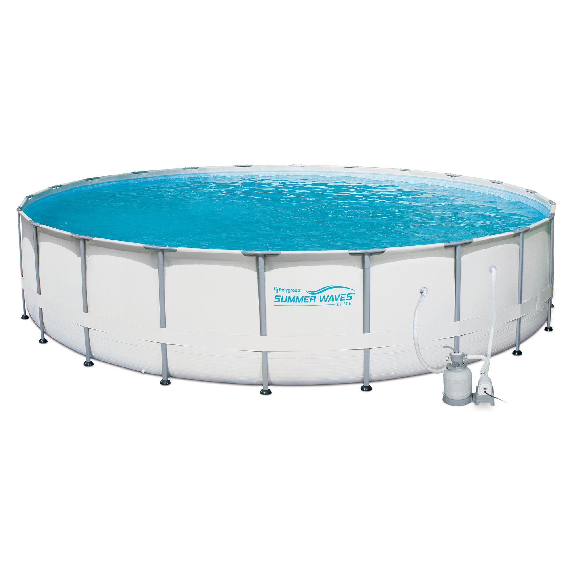 Summer waves elite 24 39 ft metal frame above ground pool for Above ground pool set
