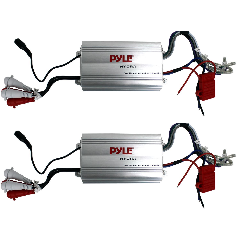 Pyle 4 Channel Marine Waterproof MP3/iPod Power Audio Amplifier Amp (2 Pack)