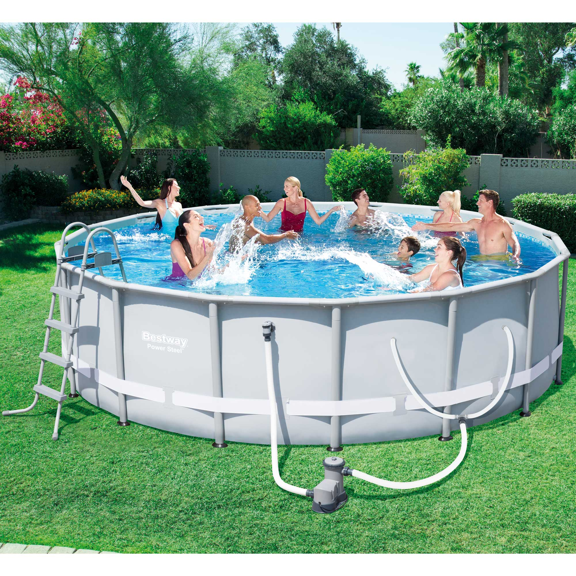 Bestway 16 39 x 48 power steel frame above ground pool set with filter 56491e - Steel frame pool ...