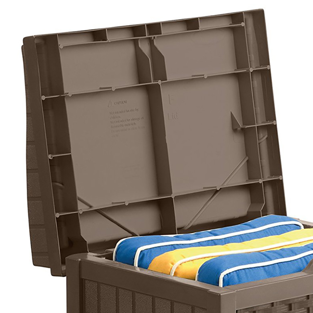 suncast 22 gallon resin wicker indoor outdoor storage deck. Black Bedroom Furniture Sets. Home Design Ideas