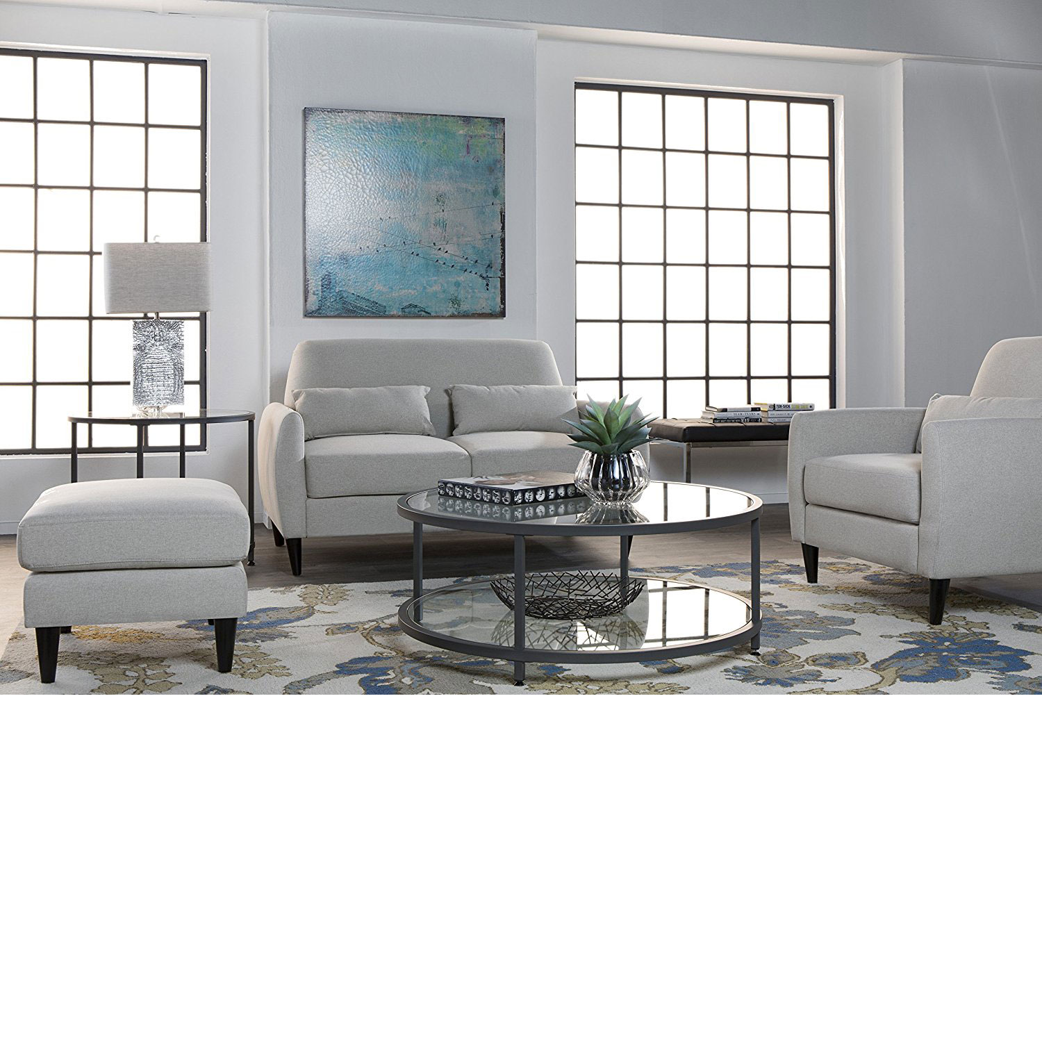 Studio Designs Home Contemporary Camber Round Glass Accent Coffee - Pewter glass coffee table