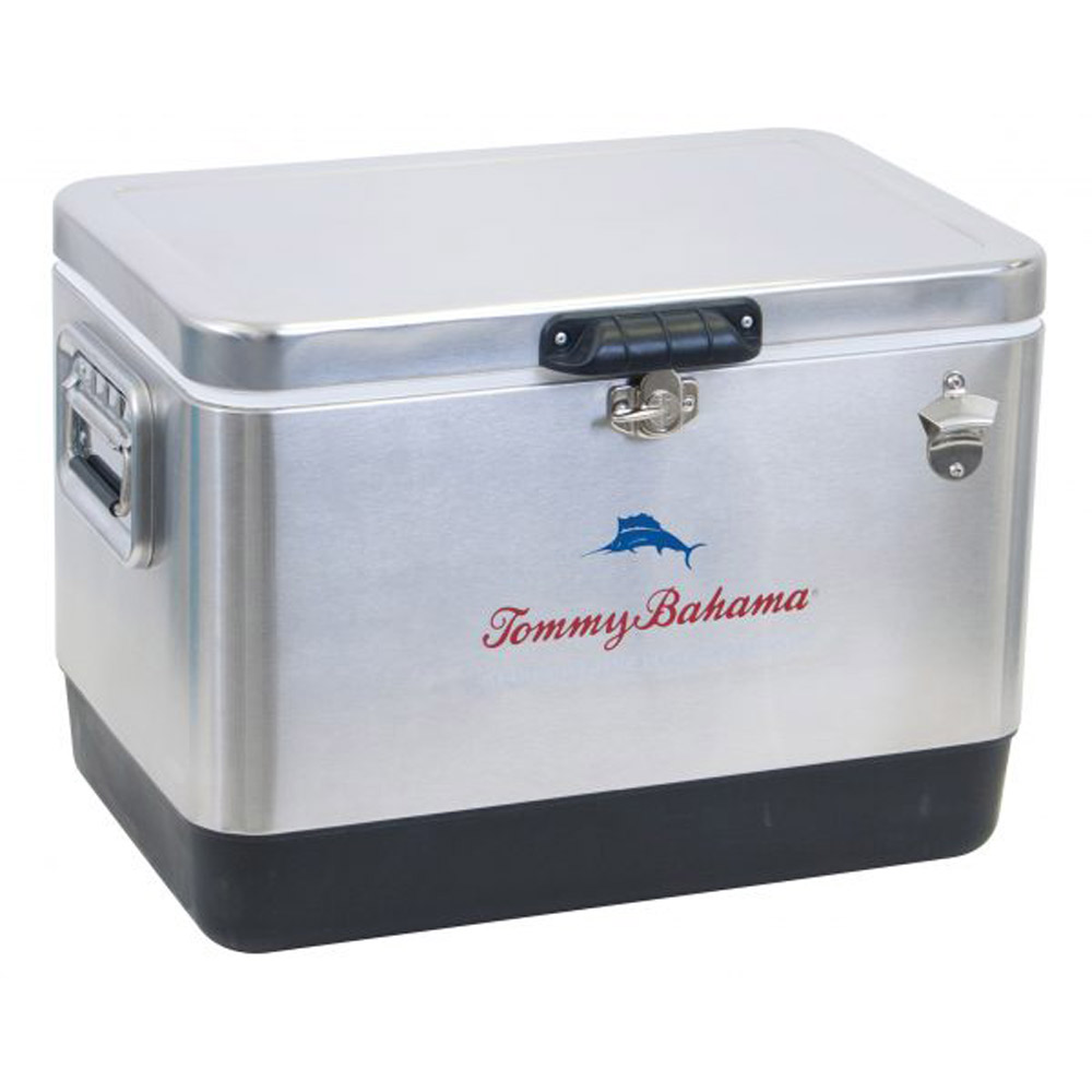 Details about Tommy Bahama 54 Quart 85 Can Capacity Portable Stainless  Steel Cooler, Silver