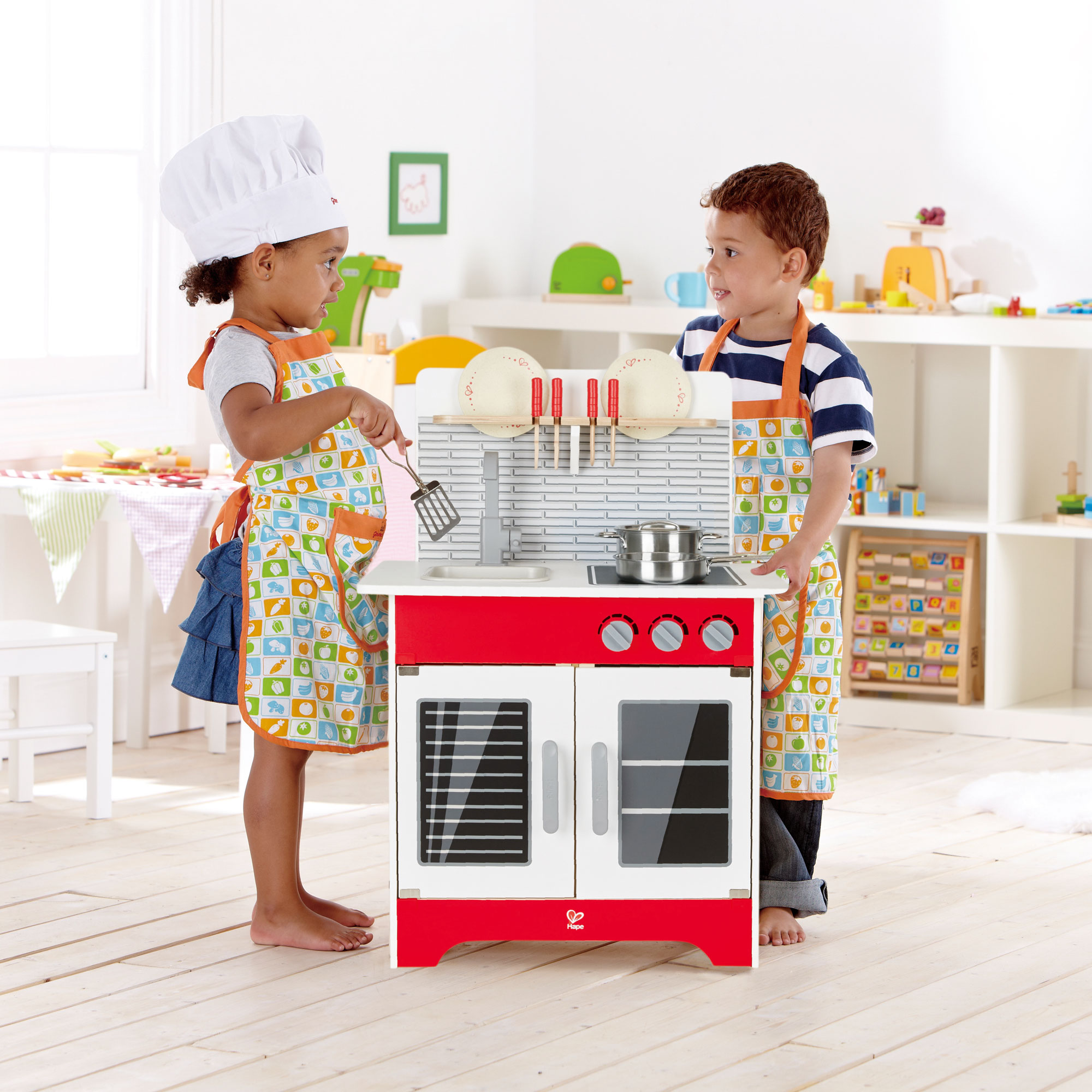 Hape Wooden City Cafe Pretend Cooking Play Kitchen Set Kids Toddler Toy Playset  eBay