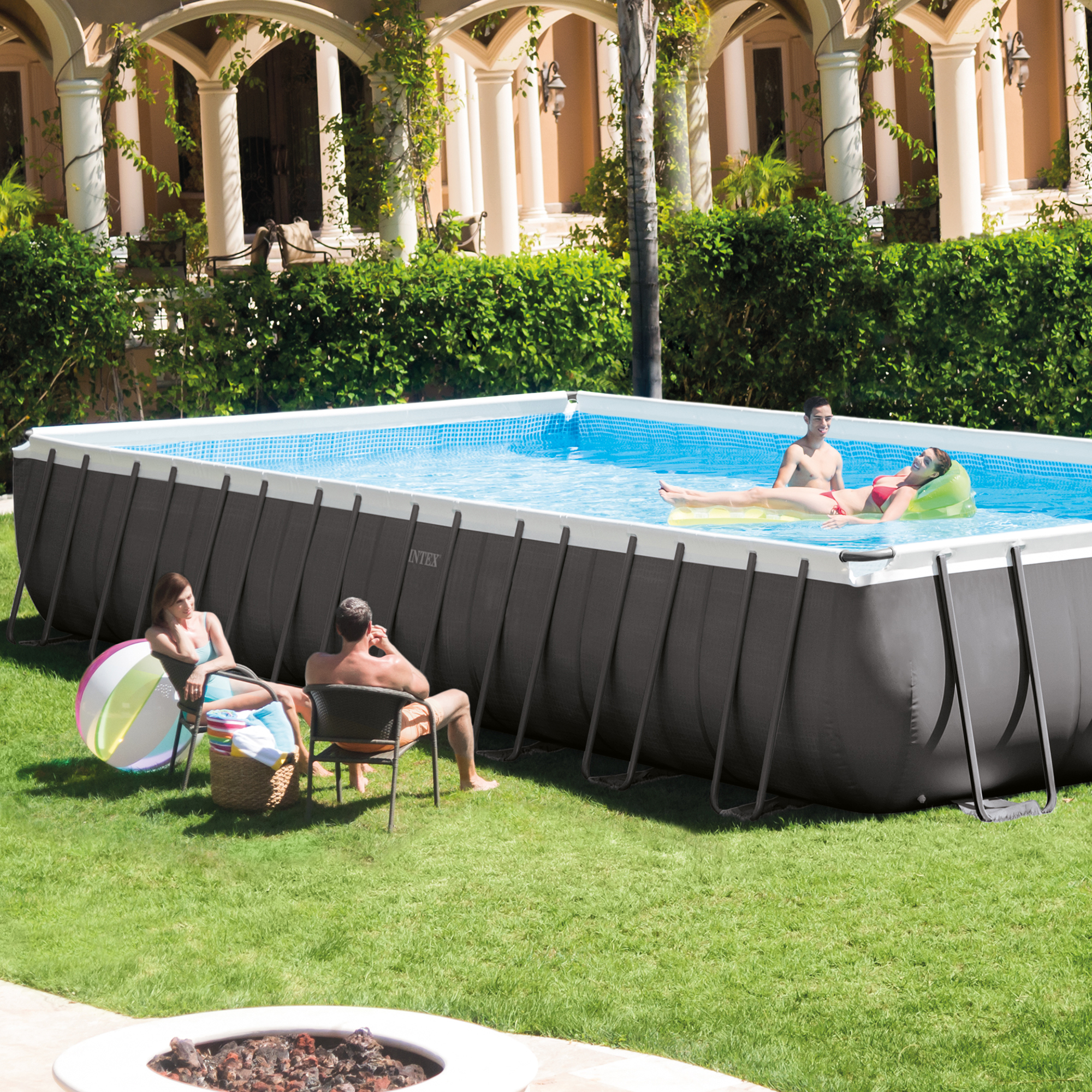 Intex 32 x 16 x 4 3 foot ultra frame rectangular pool set w pump and ladder ebay for A rectangular swimming pool is 6 ft deep
