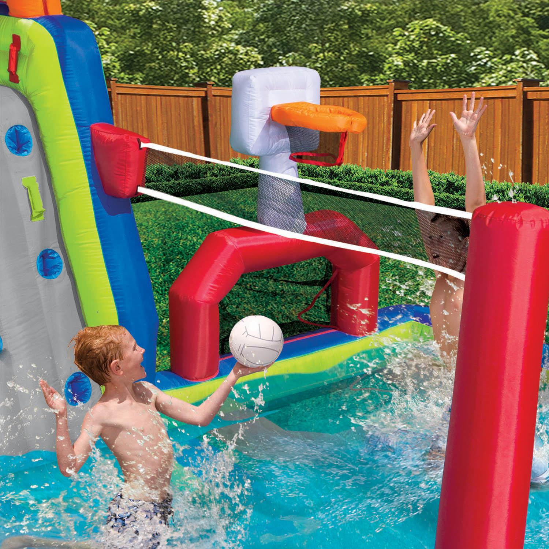 Banzai inflatable aqua sports splash kiddie pool and slide for Garden pool slide