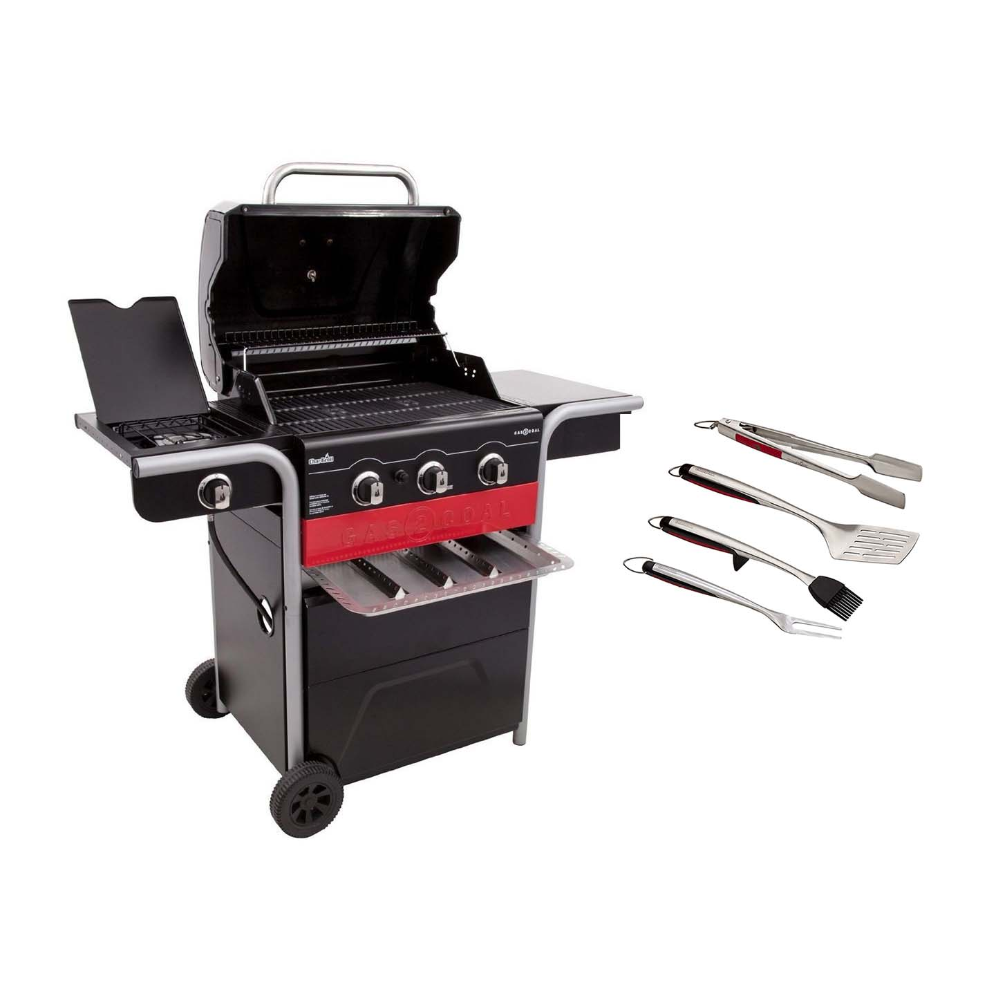 Char Broil Gas2coal 3 Burner Gas And Charcoal Combo Grill 4 Piece Utensil Set