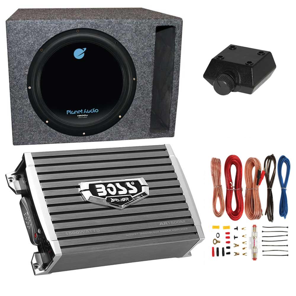 Boss 1500W Subwoofer Q Power Truck Enclosure Boss 1100W A//B Amplifier