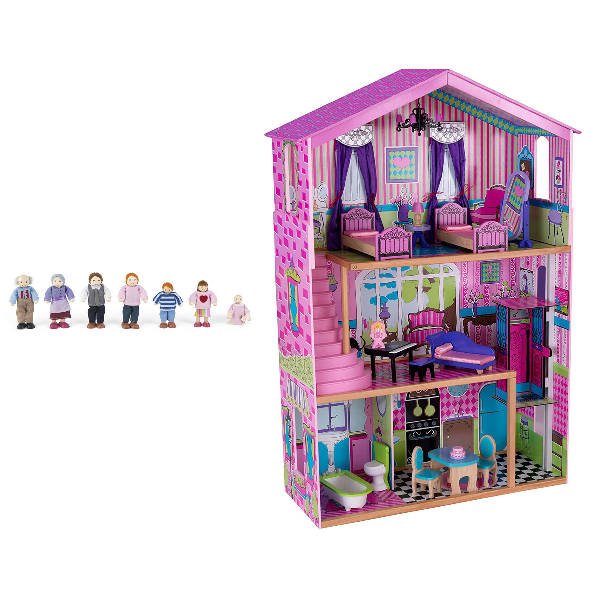 Kidkraft Suite Elite Mansion Wooden Dollhouse With Furniture Doll Family Ebay