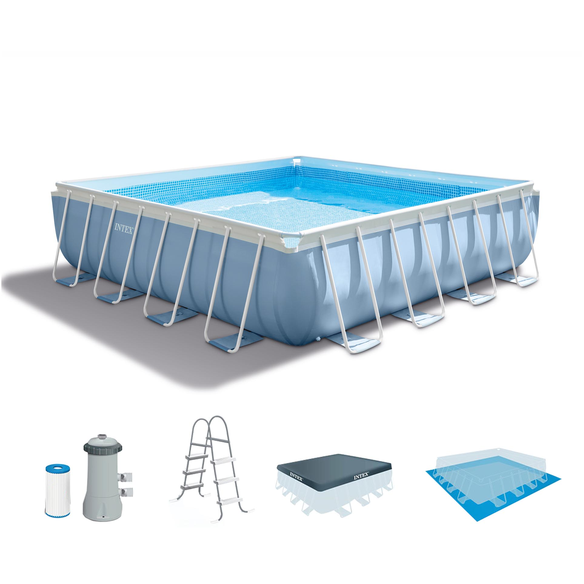 intex 14 x 42 prism xl frame square above ground swimming pool set with pump