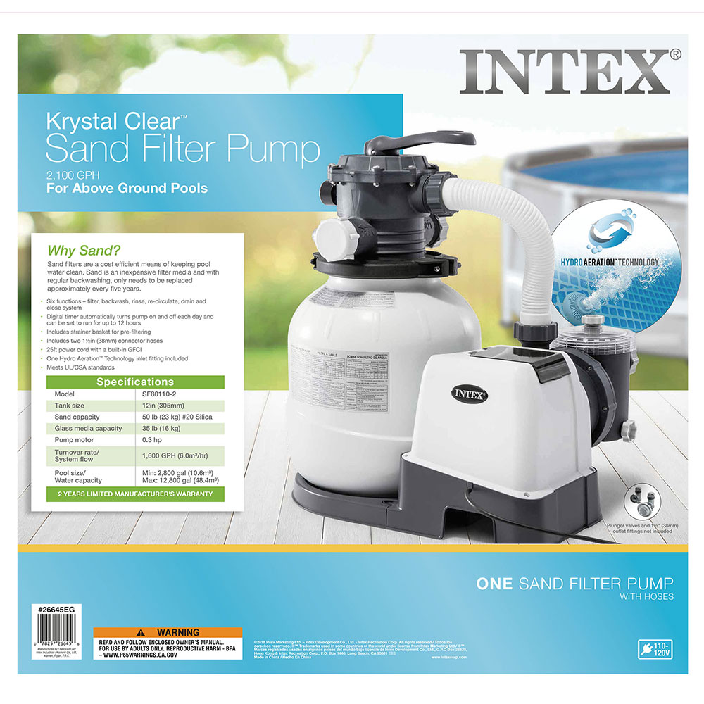 Intex 26645eg 2100 gph above ground pool sand filter pump - Above ground swimming pool pump timer ...