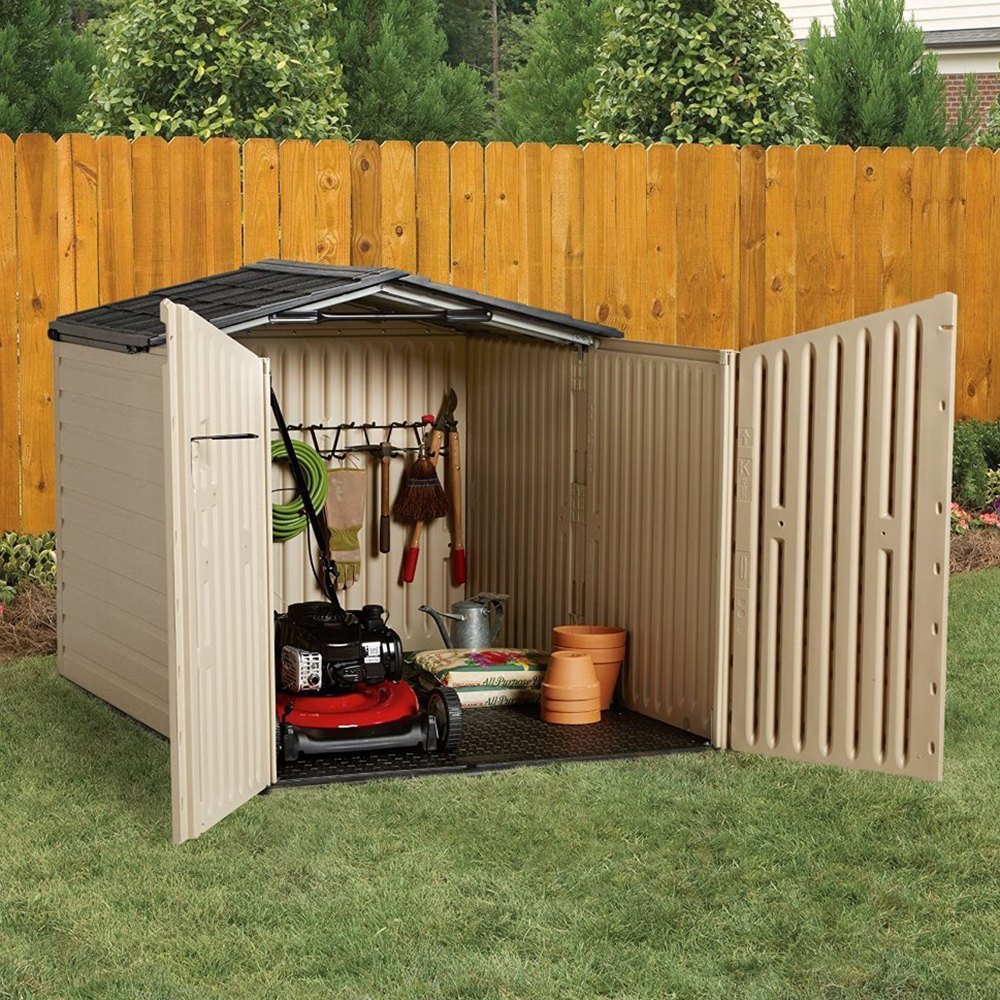 Low Profile Sheds : Rubbermaid cubic feet low profile slide lid outdoor