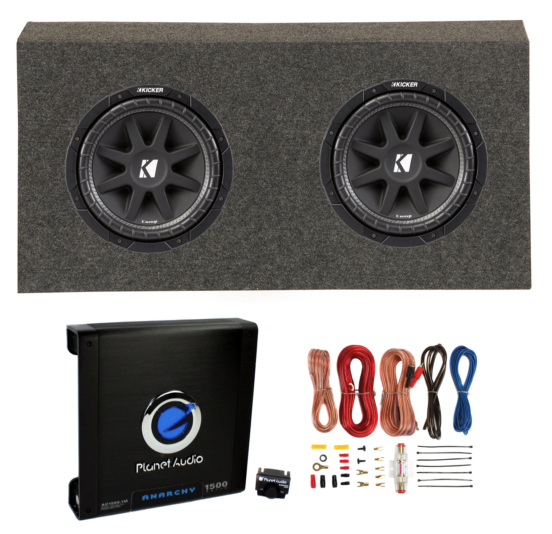 Kicker 12 Inch 600W Subwoofers (2) + Jeep Sub Box + Car Amplifier + ...