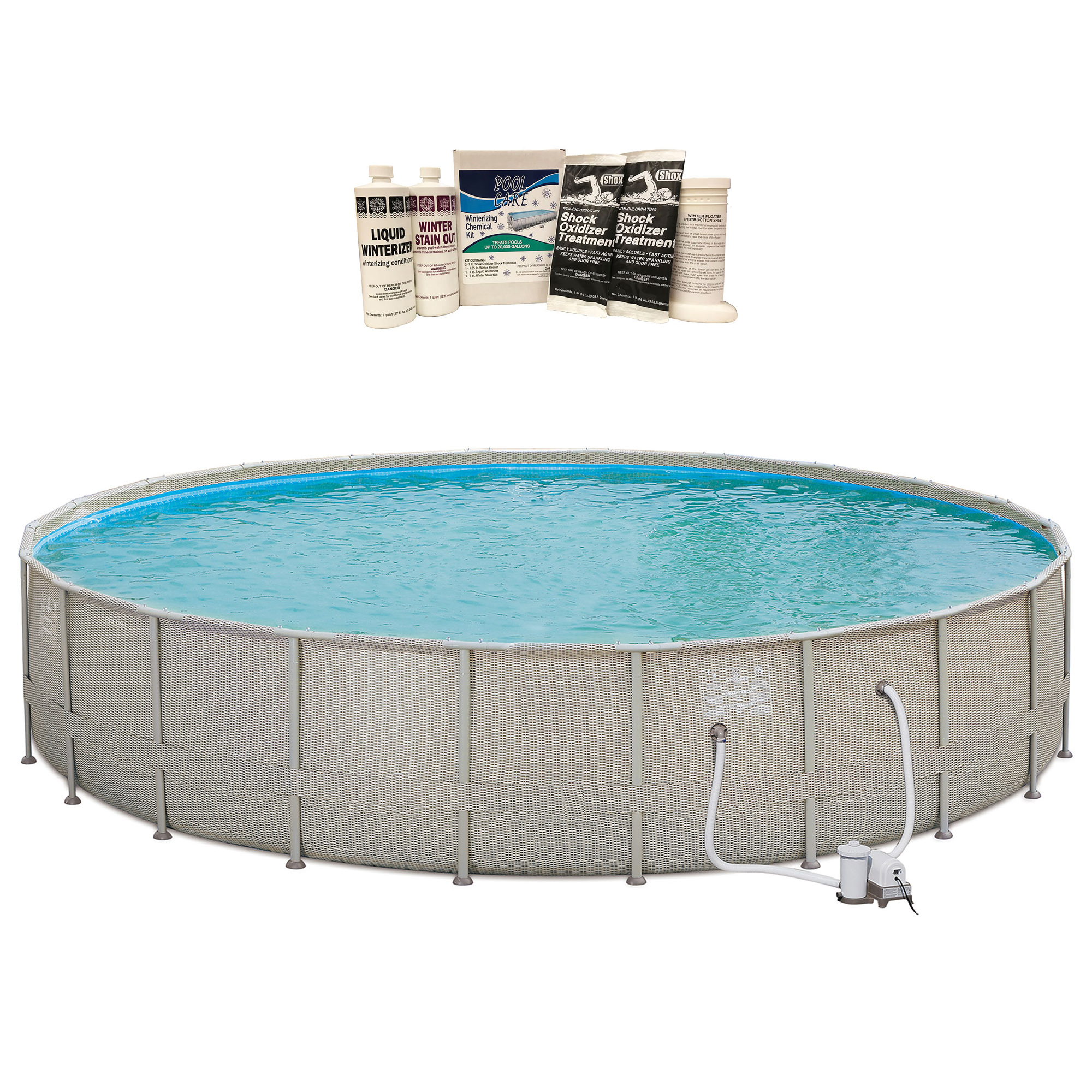 Details about Summer Waves 22\'x4\' Elite Frame Wicker Print Above Ground  Pool & Winterizing Kit