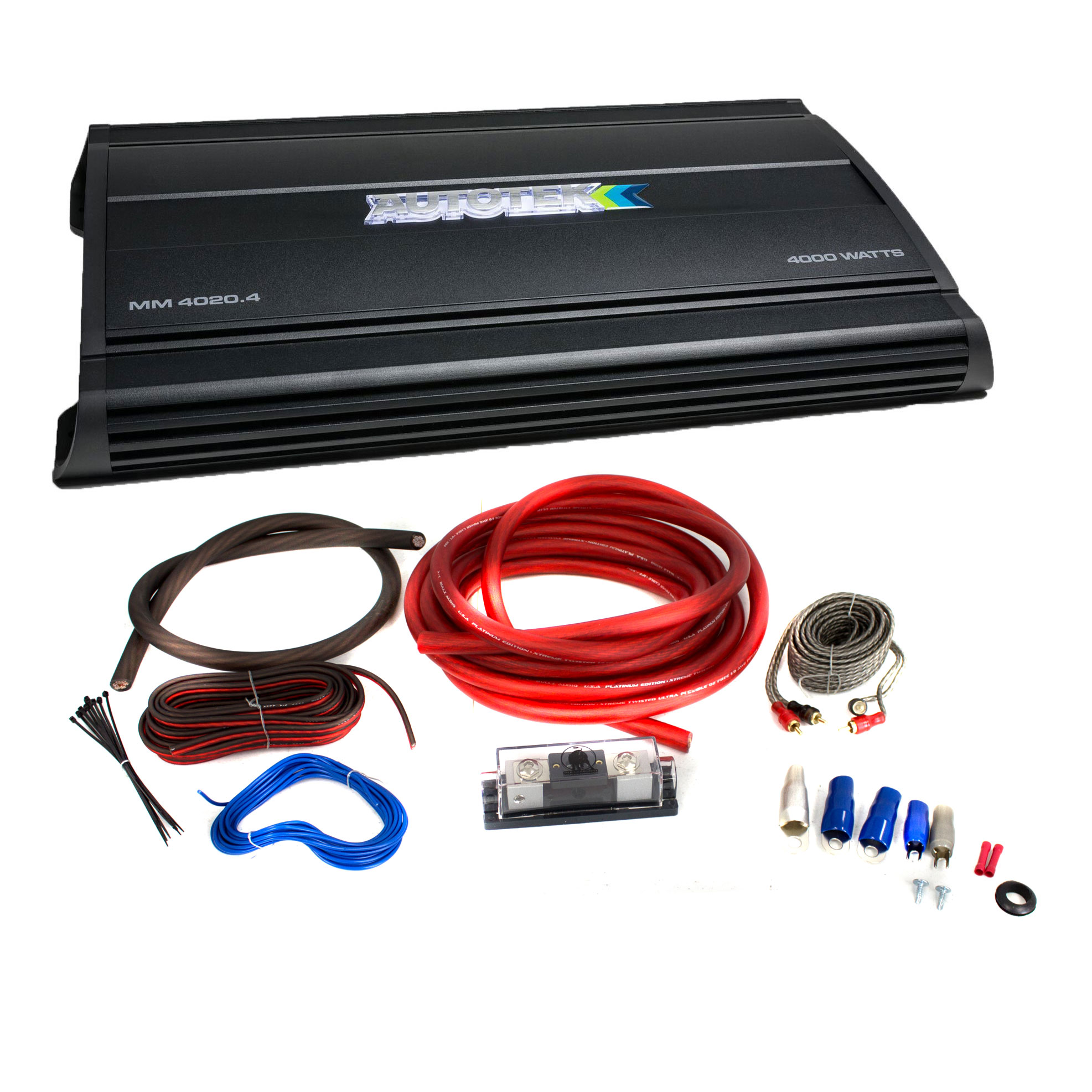 Autotek MM4020.4 4000W 4 Channel Car Audio Amp w/ Bullz Audio 1/0 Gauge Wire  Kit