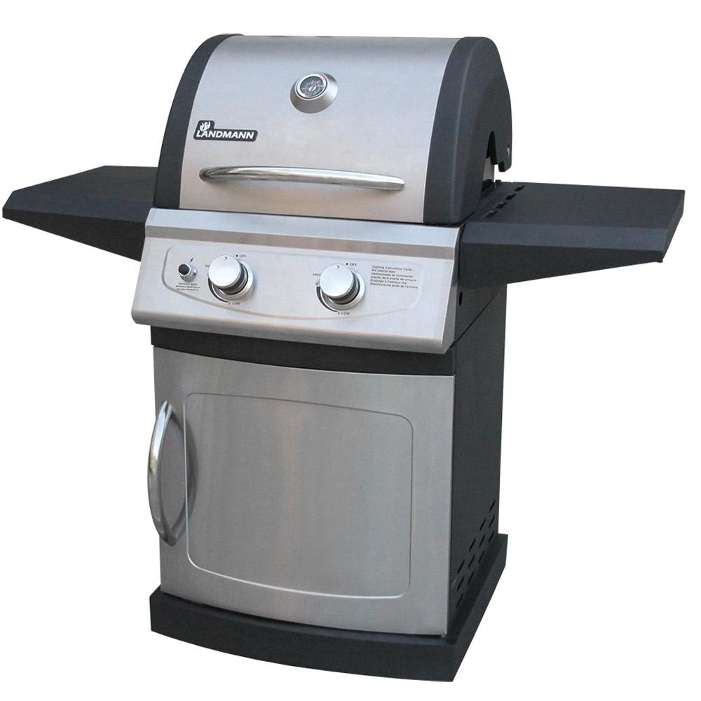 landmann lan-42202 falcon 2 burner stainless steel gas grill, silver