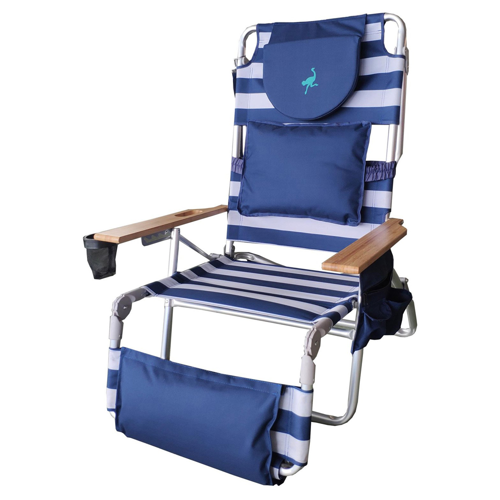 Astonishing Details About Ostrich Deluxe Padded 3 N 1 Outdoor Lounge Reclining Beach Chair Striped Blue Customarchery Wood Chair Design Ideas Customarcherynet