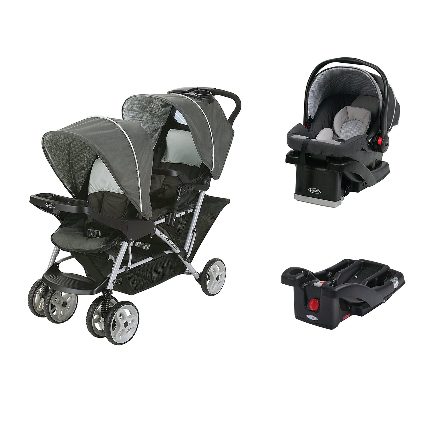 graco duoglider click connect double stroller car seat base travel system ebay. Black Bedroom Furniture Sets. Home Design Ideas