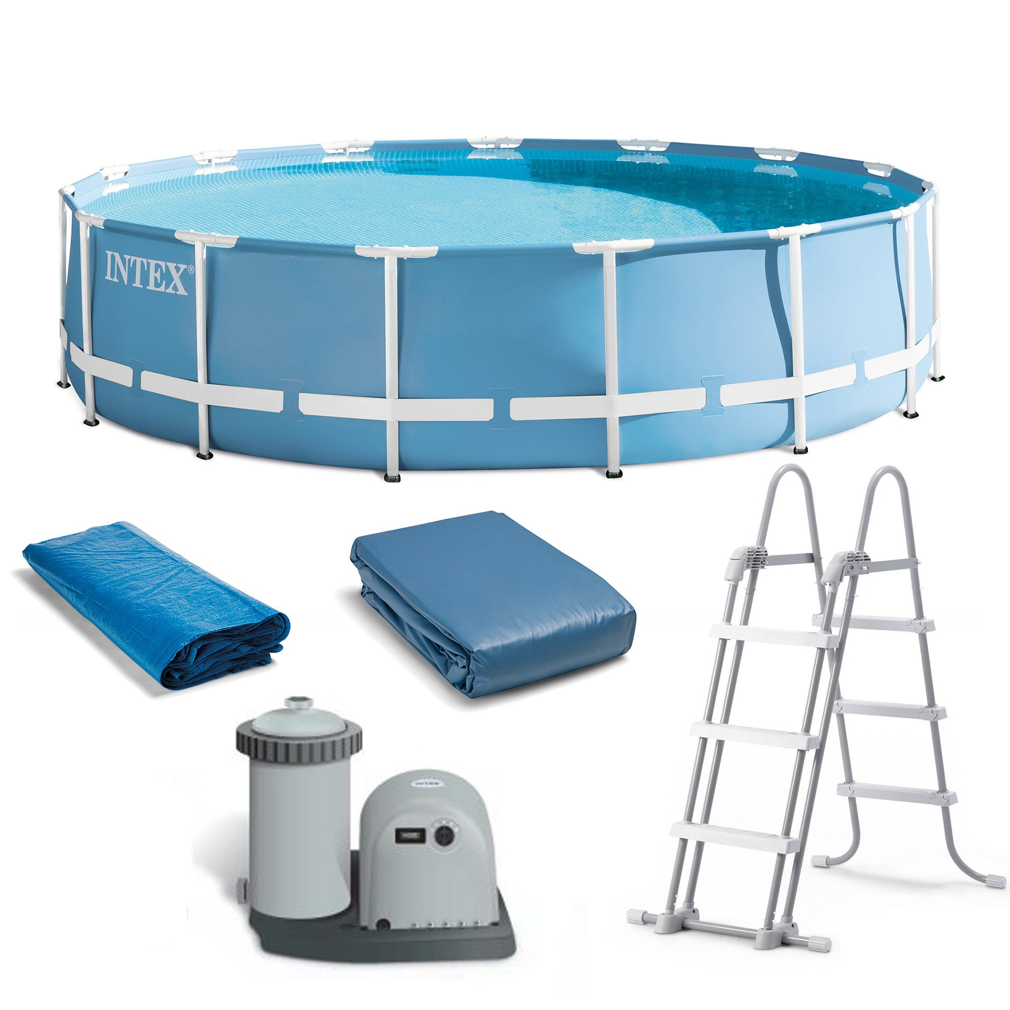 intex 18 feet x 48 inches prism frame pool set w ladder cover pump 26751eh 78257322466 ebay. Black Bedroom Furniture Sets. Home Design Ideas