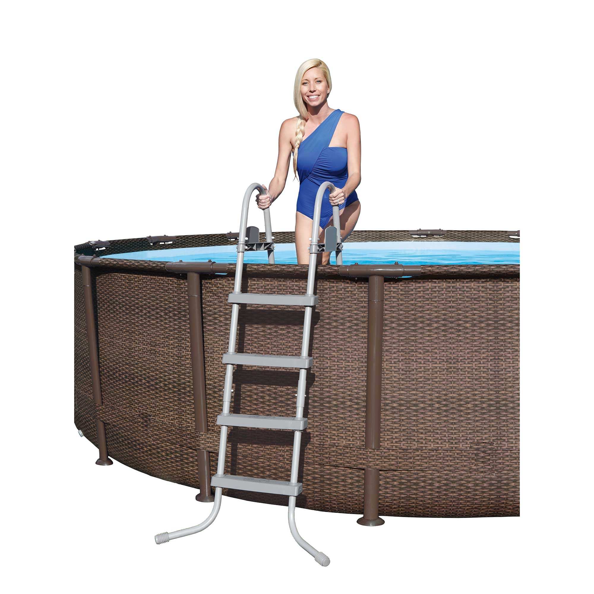 Bestway 14 39 x 42 power steel frame above ground swimming for Above ground pool set