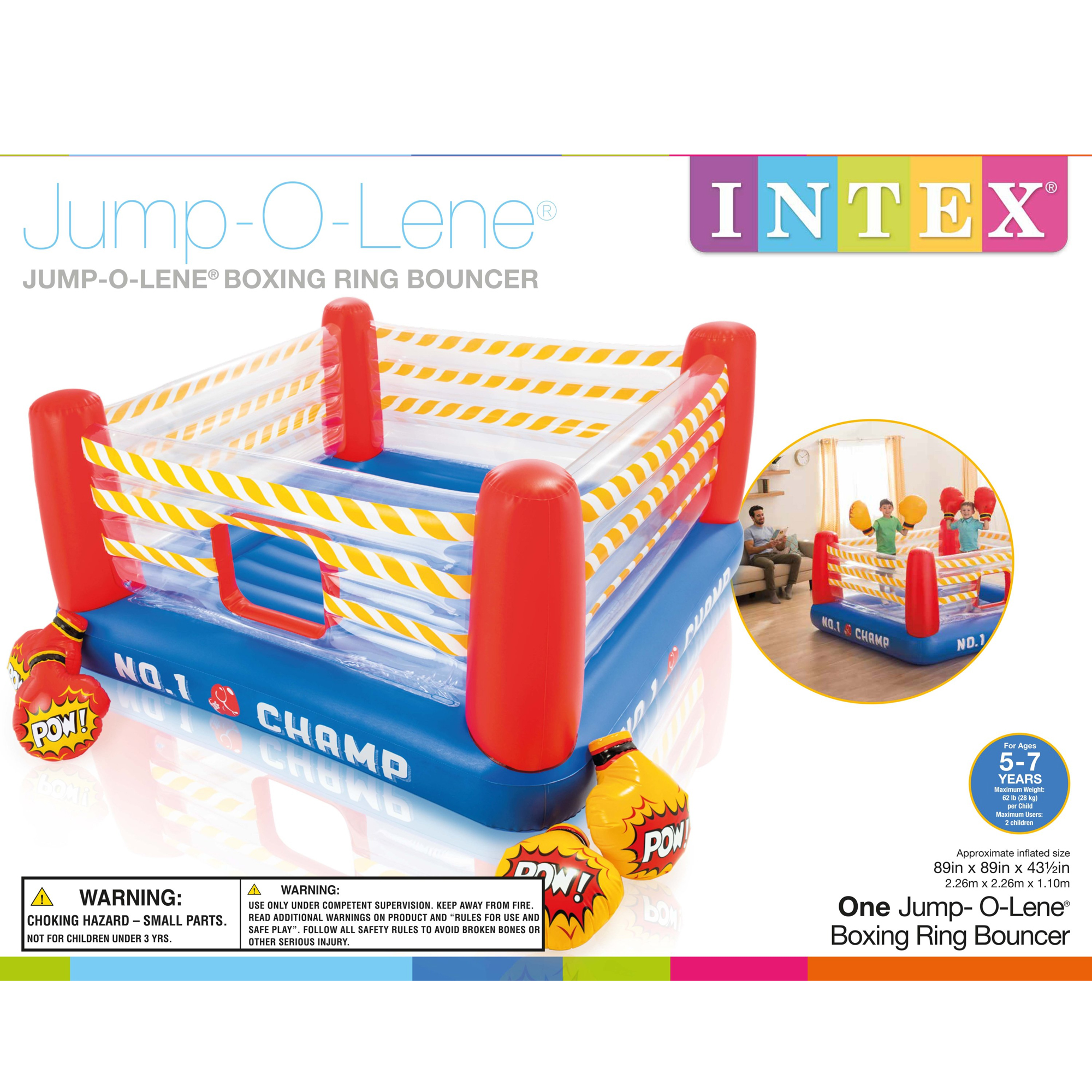 2eb7e0d06 Intex Inflatable Jump-O-Lene 89 Inch Play Boxing Ring Bouncer For ...