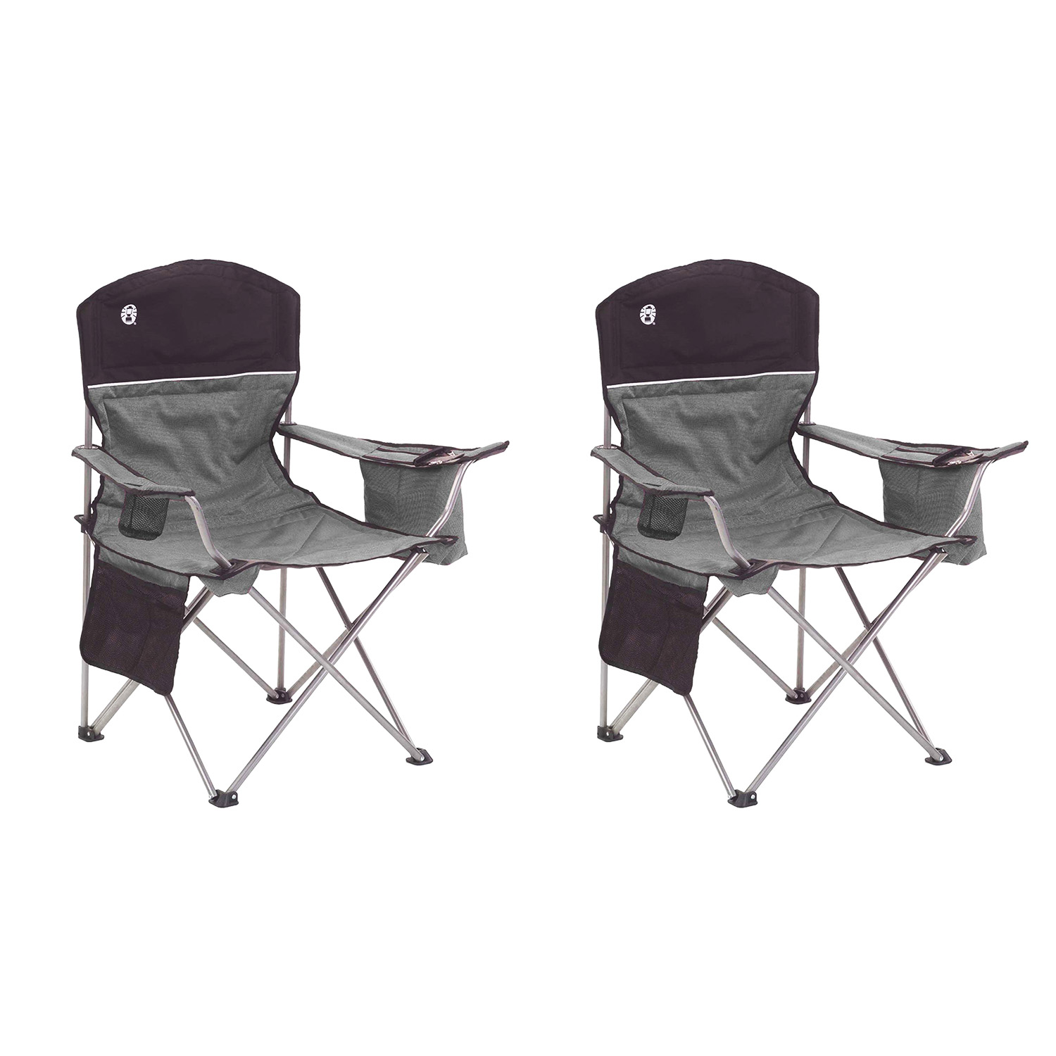 Coleman Oversized Black Camping Lawn Chairs Cooler 2 Pack