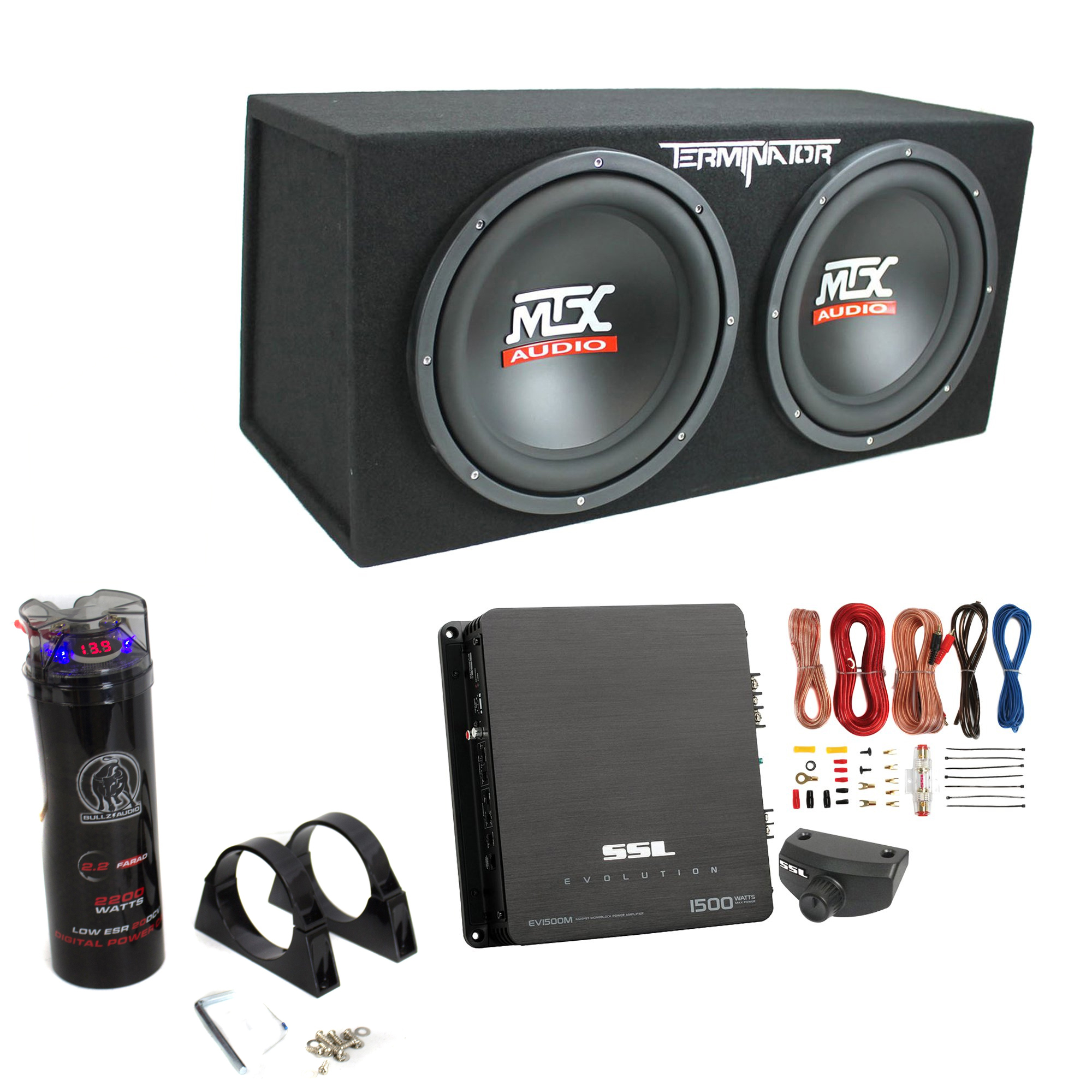 Mtx Tne212d 12 1200w Dual Loaded Subwoofer Box 1500w Amp Wiring Powered 300w Power Amplifier Capacitor