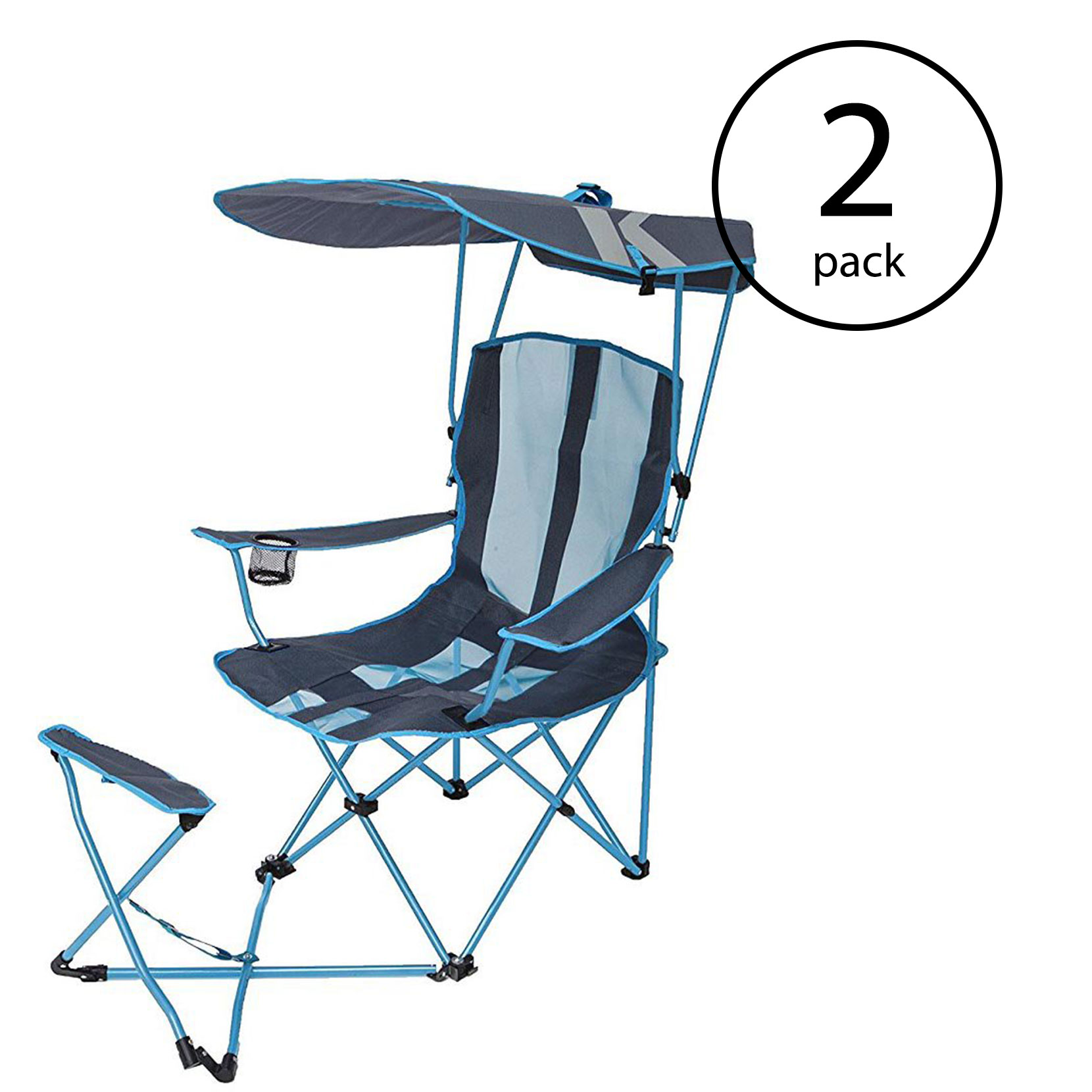 Details About Kelsyus Original Canopy Shade Folding Camping Chair With Ottoman Blue 2 Pack