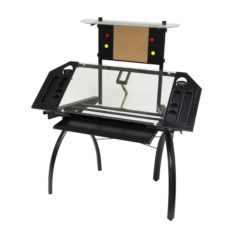 Studio Designs Futura Tower Adjustable Drafting Table Drawing Desk, Black Glass