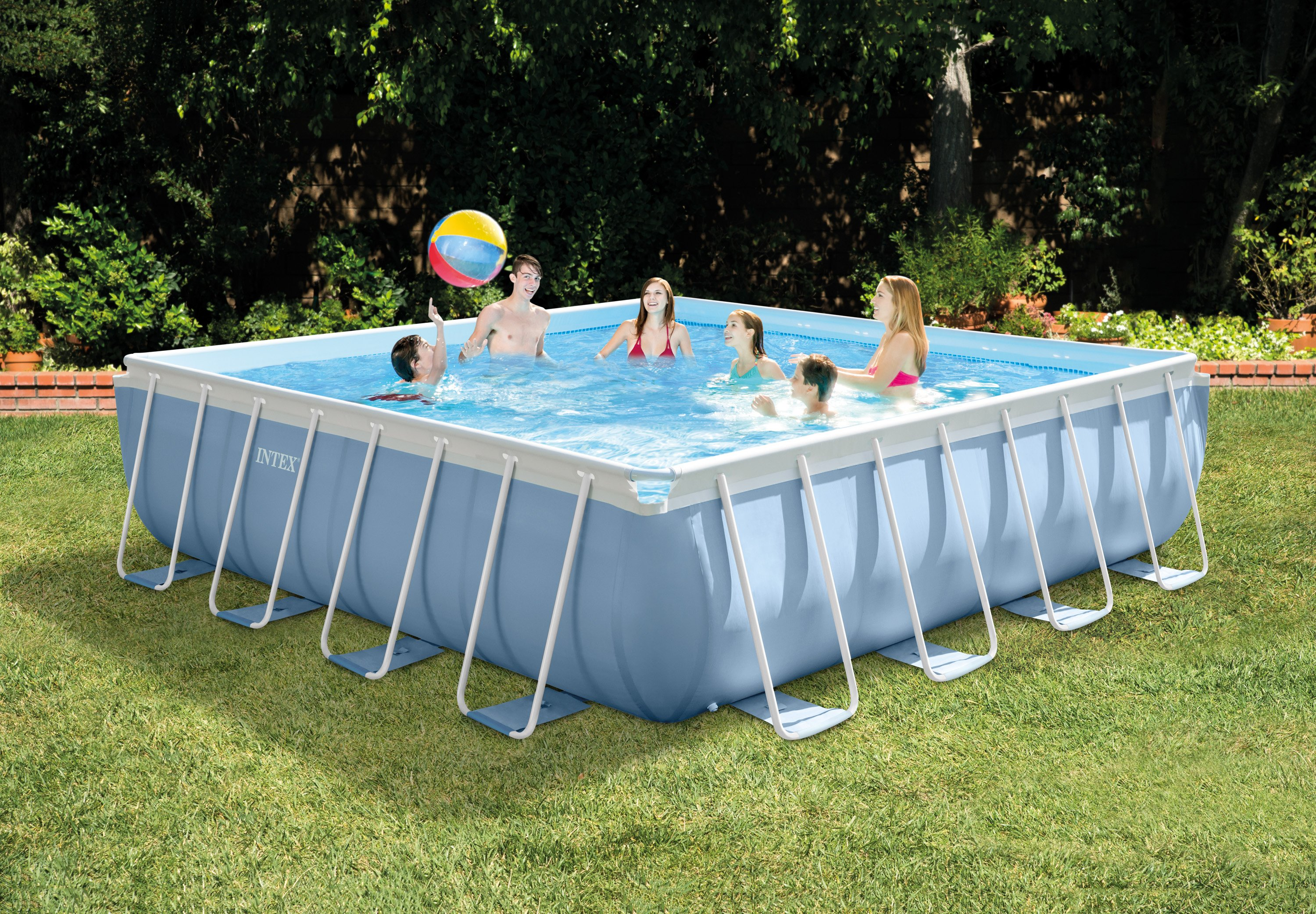 intex 16 x 48 prism xl frame square above ground pool set with filter pump - Square Above Ground Pool