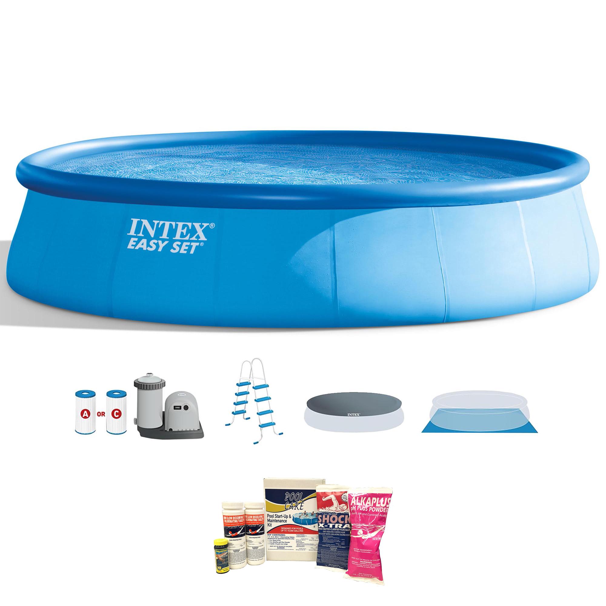 Intex 18 X 4 Foot Inflatable Easy Set Pool W Ladder Pump